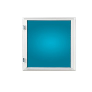 Fönster 80×80, vitmålat, öppningsbart